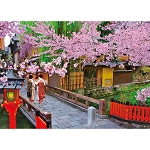 Blooming Cherry Blossoms & Gion Jigsaw Puzzle (600 pcs, 53 x 38 cm) [Beverly]